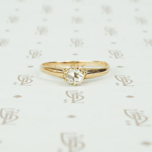 antique rose cut diamond solitaire 14k yellow gold