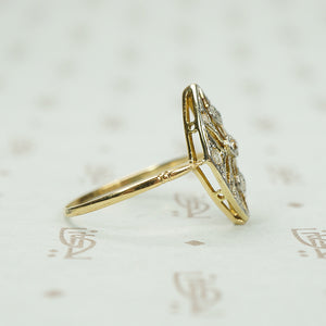 Lacy Edwardian Rose Cut Diamond Ring