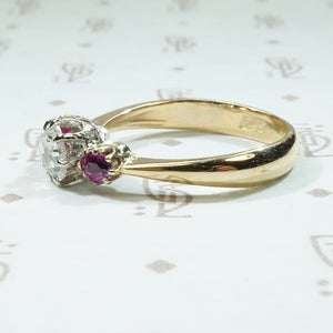 Rose Cut Diamond and Rubies Gold Ring