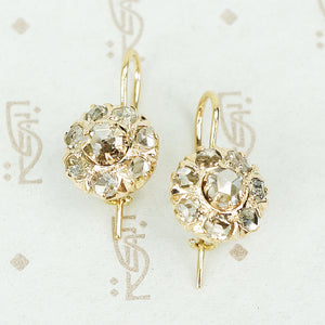 antique rose cut diamond cluster drop earrings