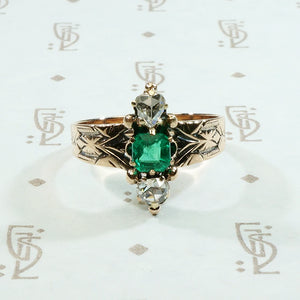 rose cut diamond and emerald victorian ring