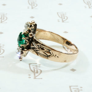 Vibrant Green Emerald with Juicy Rose Cut Diamonds