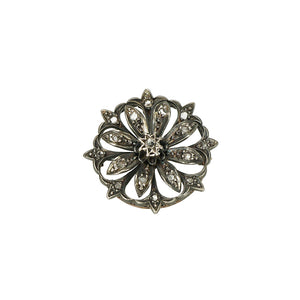 Antique Rose Cut Diamond Pendant Brooch - Gem Set Love