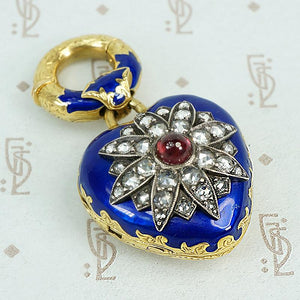enameled rose cut diamond pendant locket