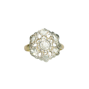 antique low profile diamond ring with rosecuts