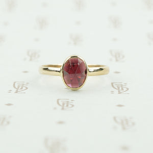 rose cut garnet 14k recycled gold ring