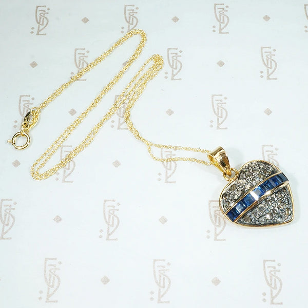 Rose Cut Diamond and Sapphire Heart