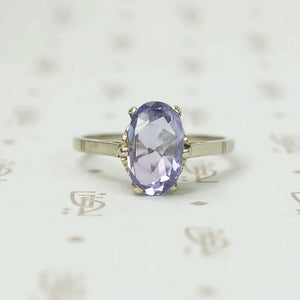 Rose Cut Oval Purple Sapphire Solitaire