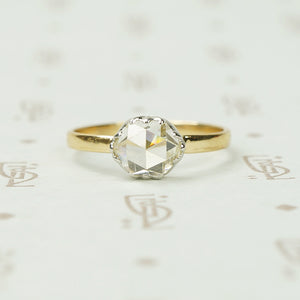 Rose Cut Diamond Solitaire in Platinum on 18K Yellow Gold