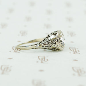 .44ct rose cut diamond in white gold filigree ring side view