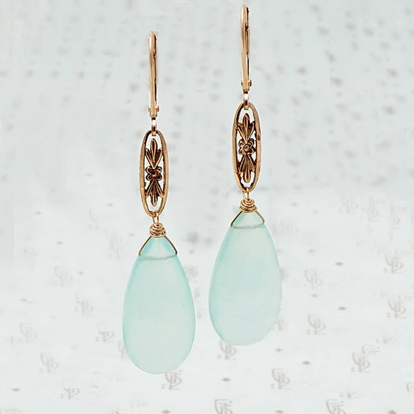 The Marché Pendant Drop Earrings by brunet in Rose Gold with Chalcedony