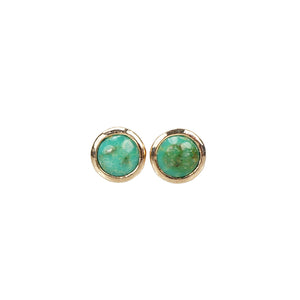 Recycled Rose Gold Turquoise Studs - Gem Set Love