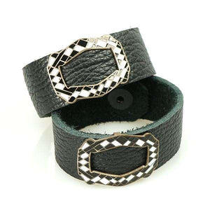 R + P matched pair of Leather bracelets with Deco Enamel Buckles
