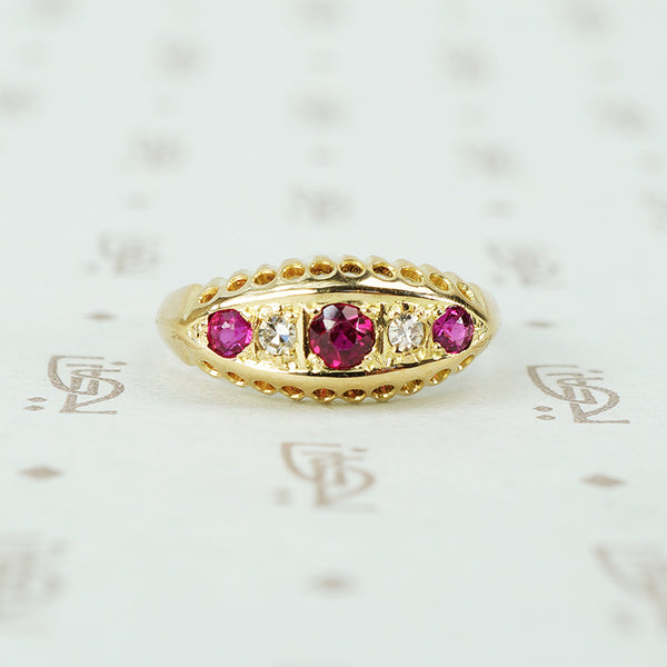 vintage ruby and diamond 18k yellow gold ring