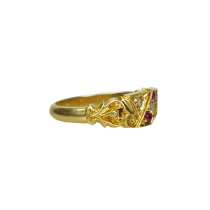 Birmingham 18k gold Ruby and Diamond Band