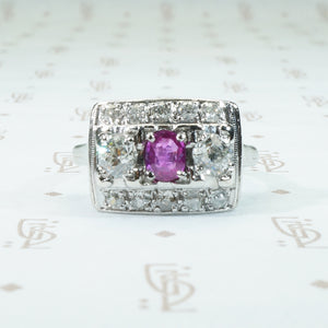ruby oec diamond white gold panel ring
