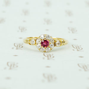 ruby and omc diamond ring 18k yellow gold