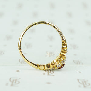 ruby and omc diamond ring 18k yellow gold side view
