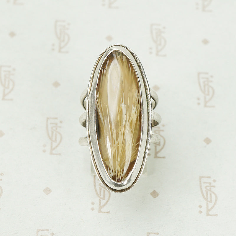 Magical Vintage Rutilated Quartz Ring in Silver 51507093885