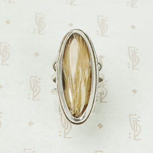 Magical Vintage Rutilated Quartz Ring in Silver