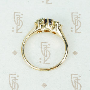mine cut diamonds and sapphire ring in yellow gold circa 1890 side view