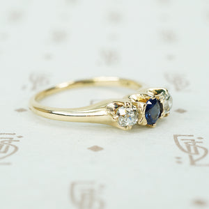 mine cut diamonds and sapphire ring in yellow gold circa 1890 diamond close up