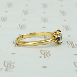 Vintage Sapphire and Rose Cut Diamond Gold Ring