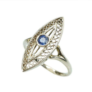 Edwardian 18k white gold Filigree Sapphire Ring Navette Shaped