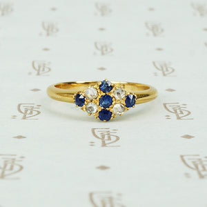 blue sapphire and rose cut diamond ring in 18k yellow gold circa 1900.