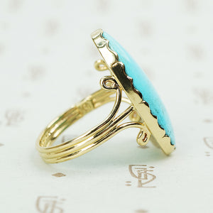 lovely spcimen blue turquise ring in gold side triple band