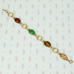 vintage gold filled and hardstone scarab bracelet
