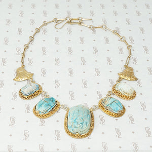 egyptian faience scarab necklace in silver gilt vintage