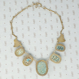 egyptian faience scarab necklace in silver gilt vintage back view