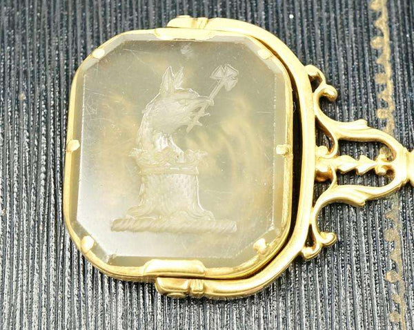 high carat gold agate spinner fob seal
