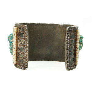 Vintage Native American Cuff Bracelet Coin Silver covered in Heishi Coral and Turquoise Nuggets