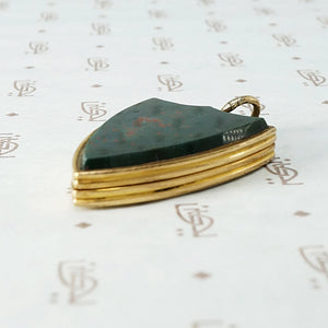 Shield Locket with Bloodstone and Engraved Ivy