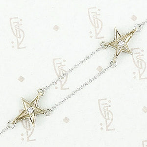 Shooting stars bracelet by 720 in 14k white gold and diamonds detail.