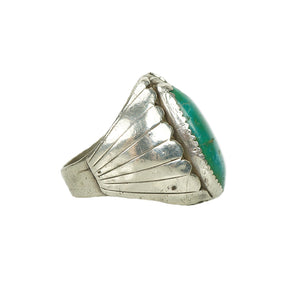 Impressive Vintage Native American Mens Ring - Gem Set Love