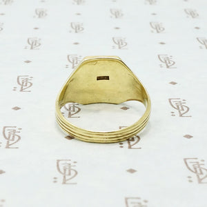 larter and sons 14k green gold signet ring back view