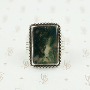 moss agate silver ring