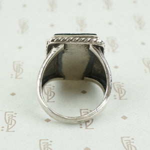 back view of agate and silver ring