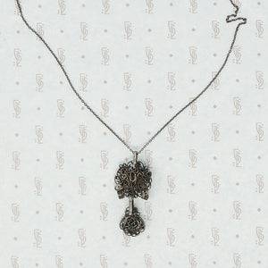 silver filigree austro hungarian necklace back