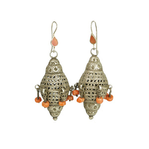 coin silver and coral antique berber earrings
