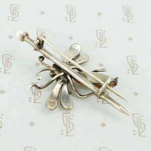 Vintage Silver Jeweled Bee Brooch