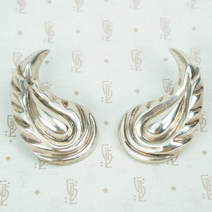 large paisley shaped mexican sterling silver clip on earrings