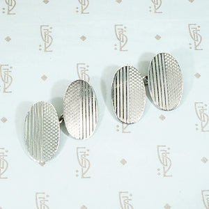 Handsome Engraved Sterling Silver Cuff Links