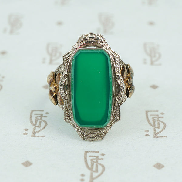 Green onyx in silver with gold flower sides 1930's ring