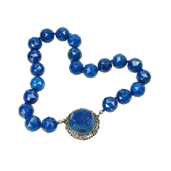 Beautiful Vintage Lapis Necklace with Snake Clasp