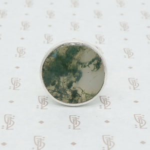 Moss Agate Modernist silver ring