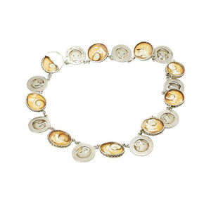 Vintage Operculum Shell Necklace in Coin Silver